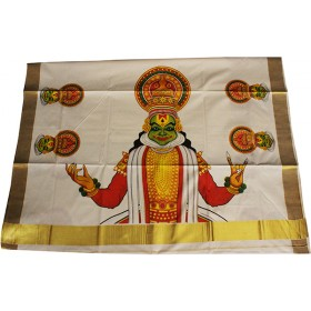 Traditional Kathakali Mural Kasavu Saree